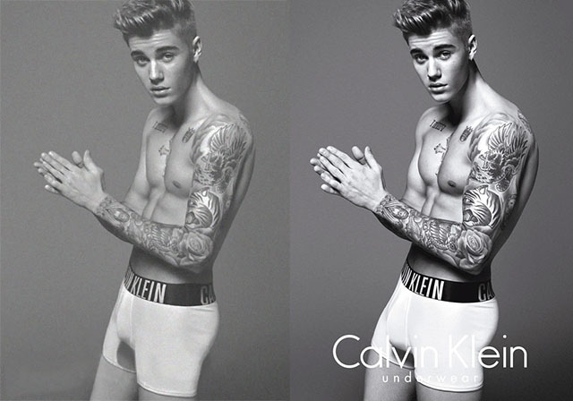 Justin Bieber photoshopped for the Calvin Klein photoshoot. Image on the right shows Justin Bieber photoshopped with larger muscles and biceps whilst image on the left shows Justin Bieber normally.